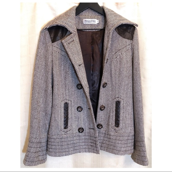 Monoreno Jackets & Blazers - MONORENO Wool Blend Jacket w/ Faux Leather Accent
